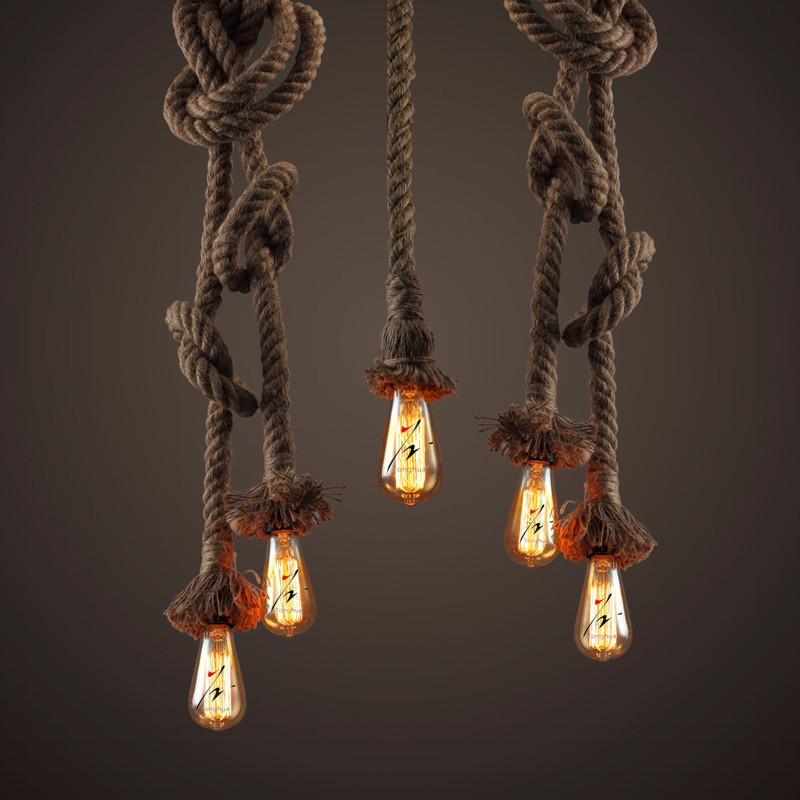 Rope pendant light retro style light for edison bulb