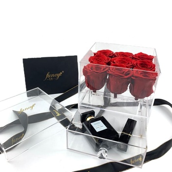 Eternal Roses Heads Acrylic Box Preserved Roses For Gifts Valentines Day