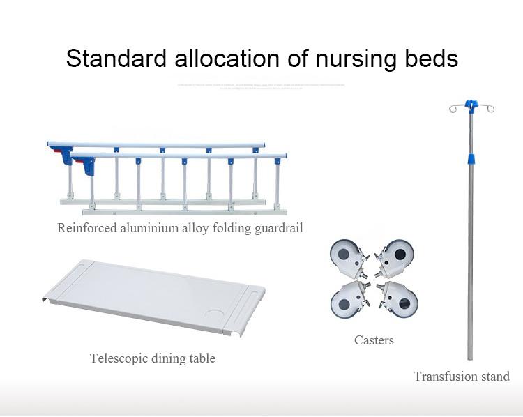 Adjustable Nursing 3 Crank Functions Manual Medical Hospital Bed