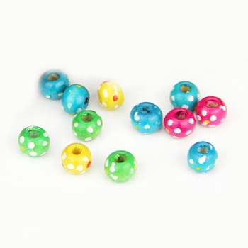 cheap 8mm 10mm colorful dot printed natural loose wood bead for jewelry making
