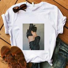 Футболка с перьями для женщин Amy, черная, белая футболка с цветами для девочек, летние хлопковые мягкие топы, красивые ангелочки(Китай)