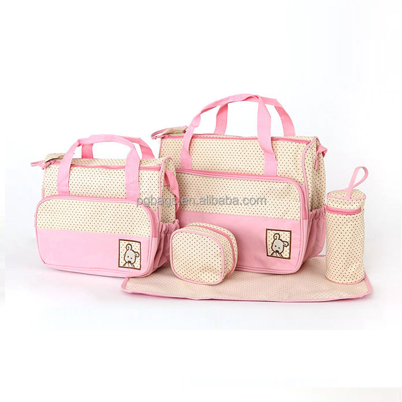 Newest waterproof multifunction 5pcs set diaper baby bag for mummy using with nappy