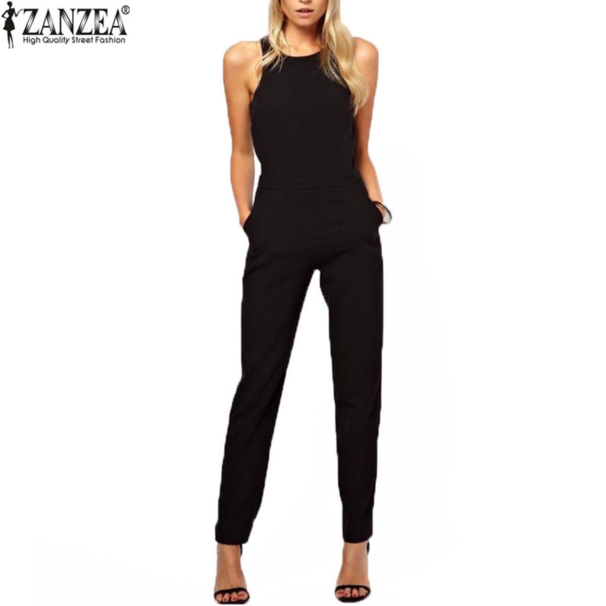 Zanzea Brand 2016 Summer Elegant Womens Rompers Jumpsuit Casual Solid Bodysuit Sleeveless Crew Neck Long Playsuits