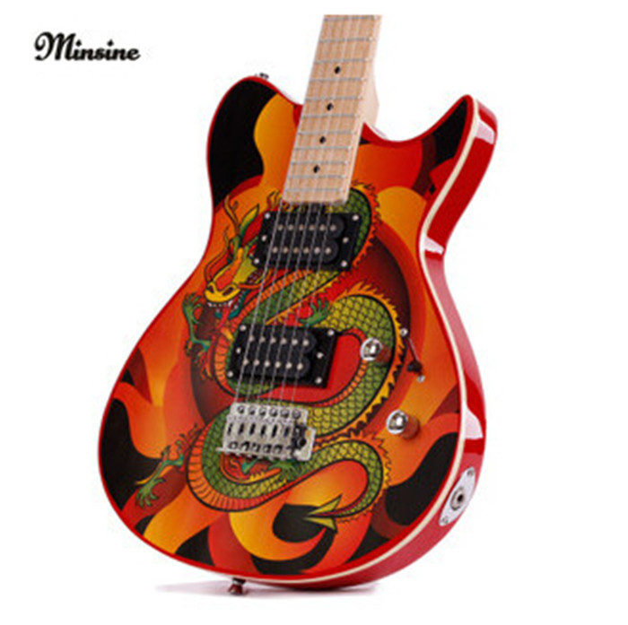 chinese dragon electric guitar single wave personality lp guitar beginners suit can play. Black Bedroom Furniture Sets. Home Design Ideas