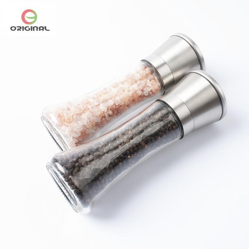 Ручная мельница для соли, Премиум стеклянный корпус с регулируемой Керамической мельницей для специй из нержавеющей стали