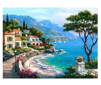 Diy Diamond Embroidery Seaside Villa Natural Scenery Diamond Painting Cross Stitch