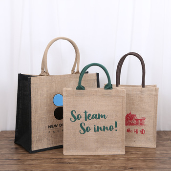 2020 New design creative blue pink green white many colors Eco canvas and jute burlap grocery shopping bag with black handle