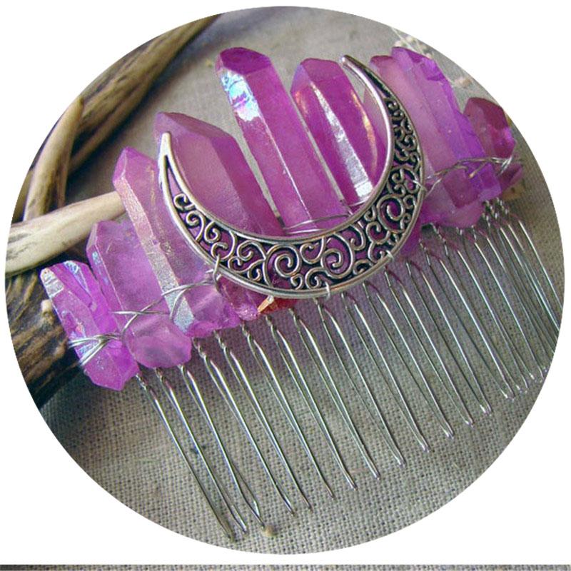 Venefica Silver Titanium Aura Moon Crown Tiara