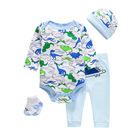 Baby Clothes For Baby 100% Cotton Newborn Baby Unisex Clothes Set For Summer Romper Pants Hat And Socks 4 Pcs Outfit