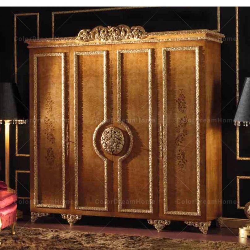 Custom Rococo Luxury Golden Wood Carved