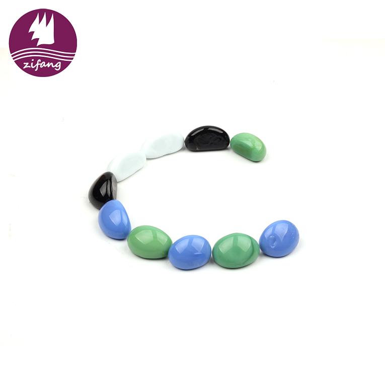 Cashew Shape Decorative Beautification Stone Glass Beads Round Colored Glass Stone