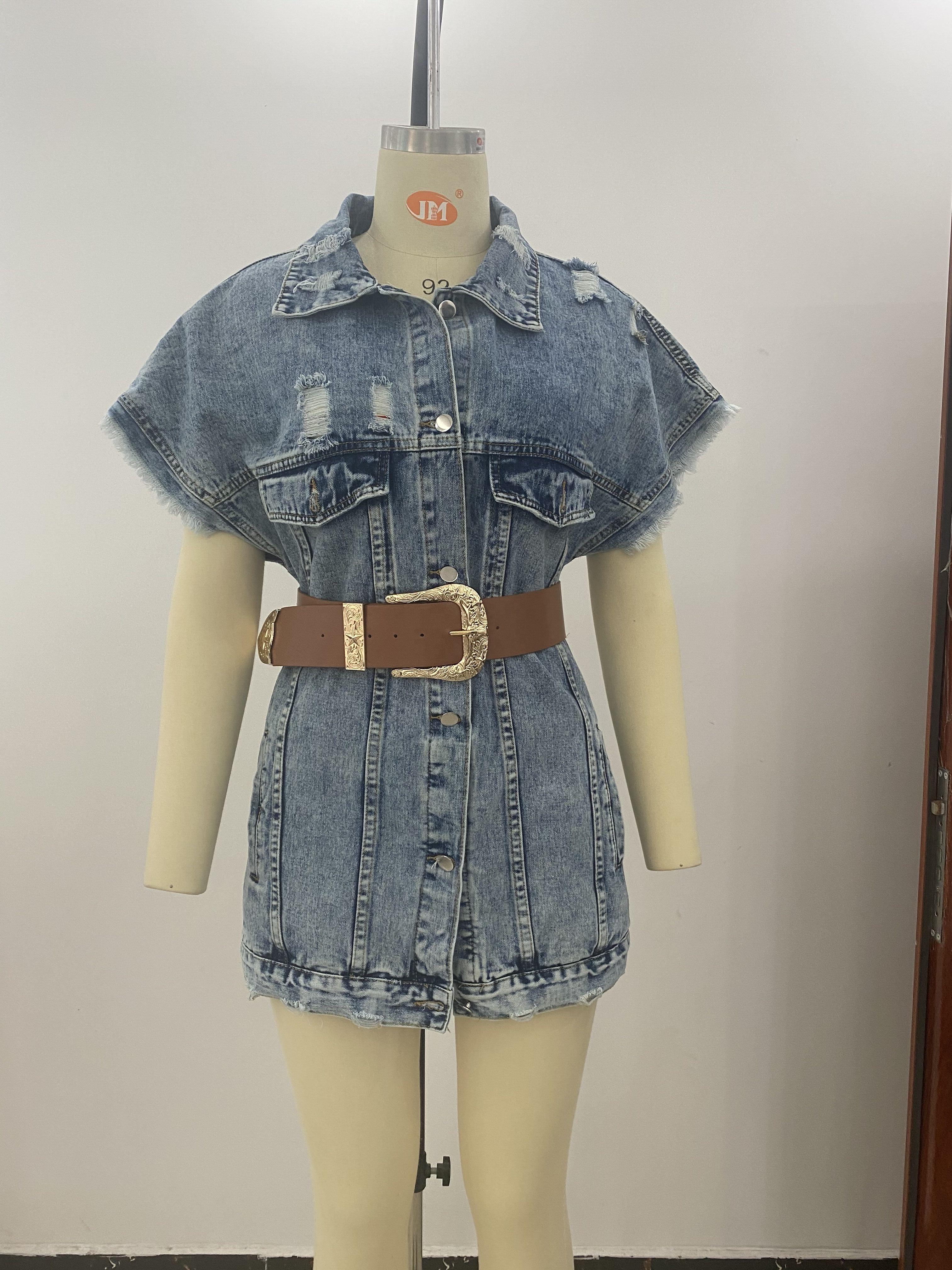 Loose Fit Sleeveless Long Jeans Waistcoat Dress Single Buttoned Turn Down Collar Ribbed Plus Size Women Denim Jackets Vest Dress