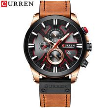 Лидирующий бренд CURREN Осенние новые Контрастные кожаные часы, уникальный дизайн для спорта и отдыха, мужские кварцевые часы(Китай)