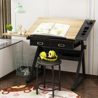 Manufacturer adjustable height wooden engineering drawing table drafting desk for home school