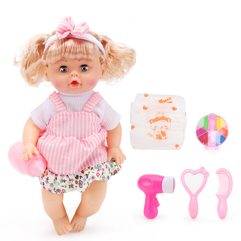 Lovely cheap doll toy hair dryer mirror real lifelike silicone girls toy doll suit kit sale