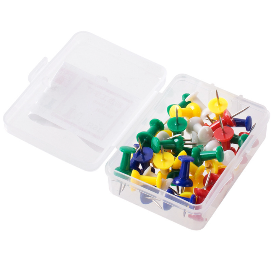 Красочные пластиковые канцелярские кнопки со светодиодной подсветкой из 30 шт пластиковая упаковочная коробка