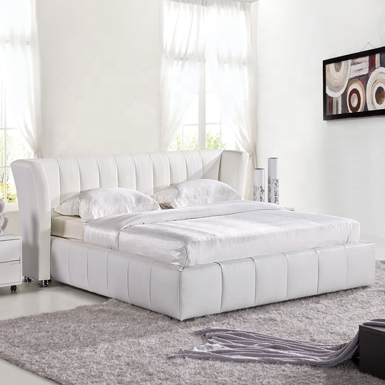 High quality modern comfort leather bed Pu white queen size oriental round headboard bedroom furniture made in China