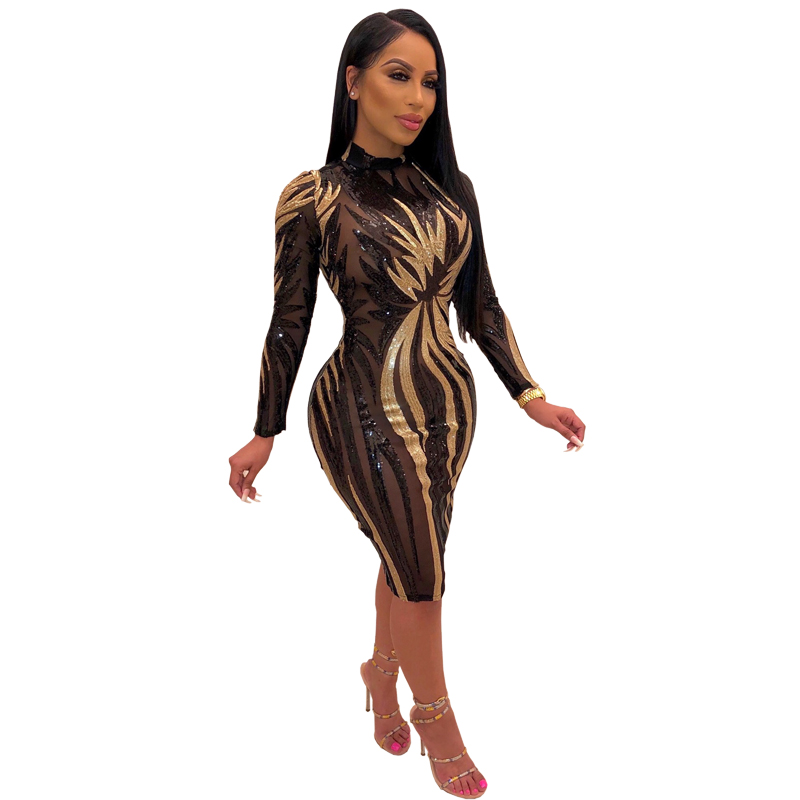 Bodycon sequin evening dress See-through nightclub beaded piece Sequin dress sexy women FM-CY8201