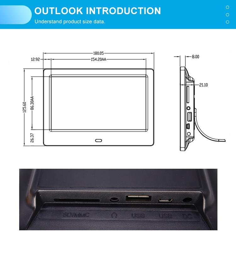 ЖК Цифровая фоторамка 7 дюймов дешевая оптовая продажа тонкая картина Mp3 Mp4 видео петля плеер Многофункциональный