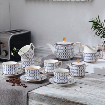 Hot new products blue classical design coffee and tea cup sets afternoon coffee tea set