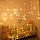 Christmas Star Decoration Hot Sale Led Christmas Moon Star Curtain Lights Decoration Supplies