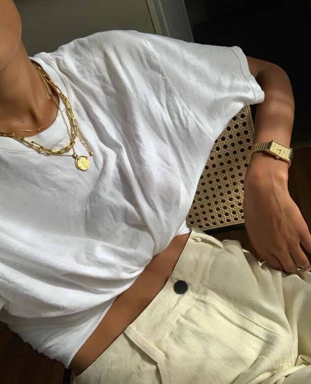 Runwaylover E374 french o-neck ladies white short sleeve t-shirt
