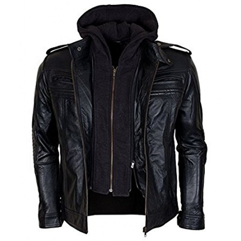 Wholesale men leather jackets genuine leather coat with hoodie