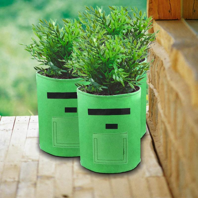 5,7, 10 Gallons Potato Carrot Onion Planting Pouch Fabric Pots Felt Planting Grow Bag Garden Vegetables Planter Bag