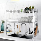 Dish Drainer Tray Kitchen Sink Organizer Rack Kitchen 2 Tier Metal 304 Stainless Steel Large Over Sink Bowl Plate Organizer Dish Drainer Drying Rack With Tray