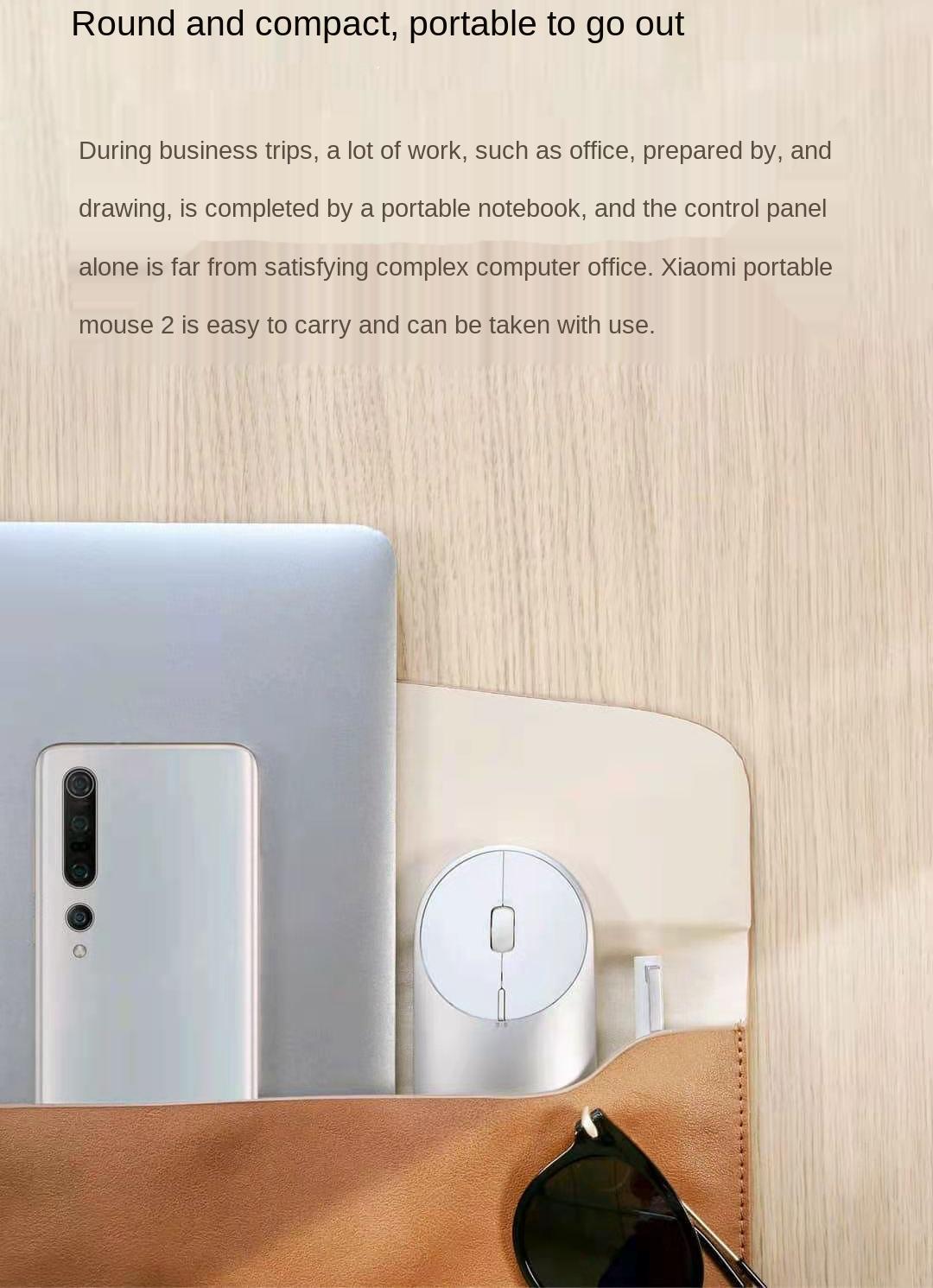 Original Xiaomi Mi Portable Mouse 2 Optical Wireless BLE 4.2 RF 2.4GHz 4000DPI Adjustable Dual Mode Connect for Laptop pc