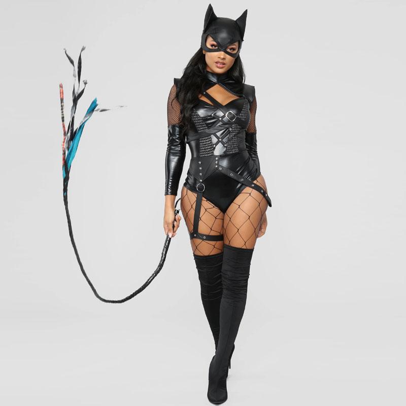 Halloween 2 Piece Black Villain Vixen Costume with Hooded Mask