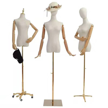 Fabric Dress Form Sewing Adjustable Linen Tailor Dummy Female Mannequin Torso With Head