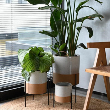 Good quality low MOQ unique decorative ceramic modern plant pot with iron stand for indoor