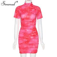 Женское облегающее платье, повседневное мини-платье с коротким рукавом и застежкой-молнией, с simenual(Китай)