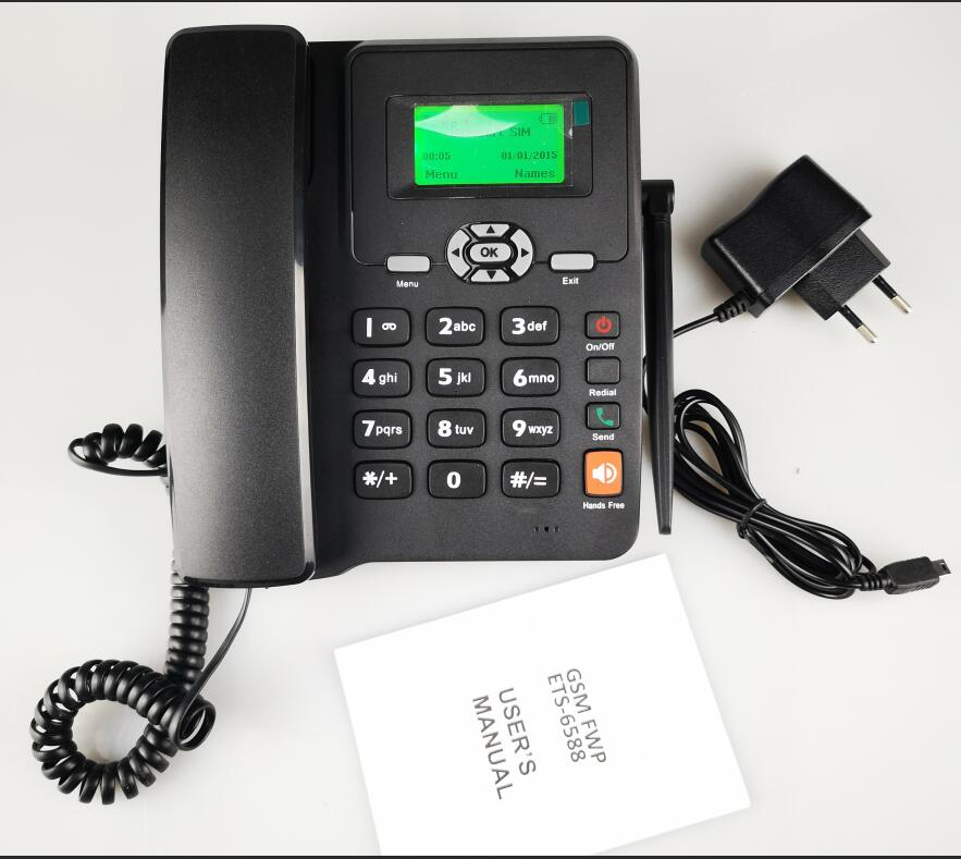 FM Radio 2 Sims Caller ID Low Cost GSM Cordless desktop phone telephone FWP