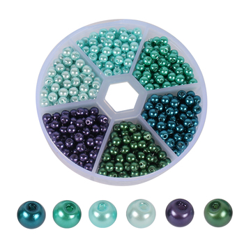 720pcs/box Round Glass Beads 4mm Mixed Color Imitation Pearl Craft DIY Jewelry Making Necklace Bracelet With Hole 005008104