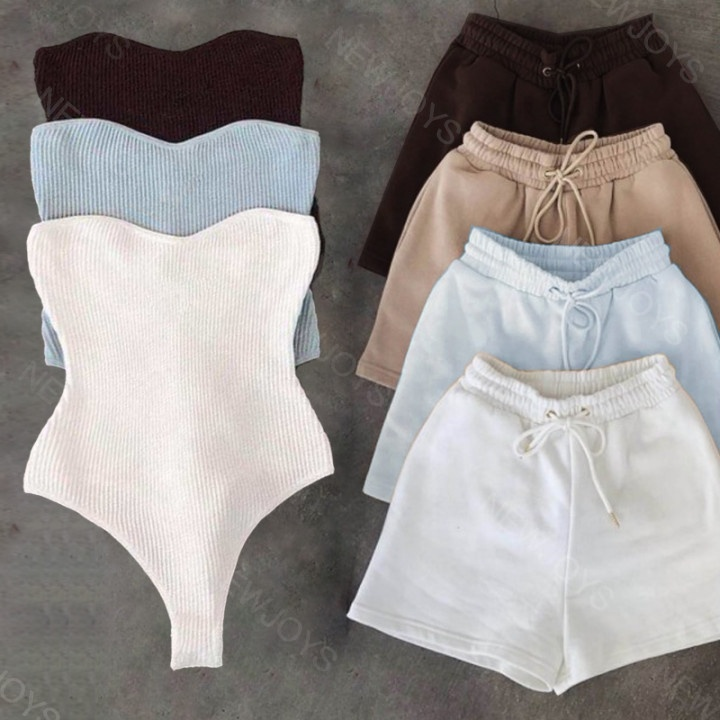 2021 Custom Brown Tube Top Bodysuit Two Piece Short Set Women Clothing Outfits Women Ribbed Tube Bodysuit 2 Piece Short Pant Set