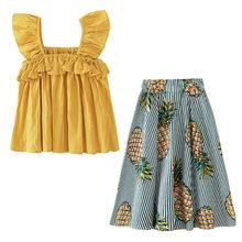 Детская одежда для девочек с оборками, топы, футболки, юбки, детская одежда, комплект одежды для детей, лето 2020, для детей, для детей, для возра...(Китай)