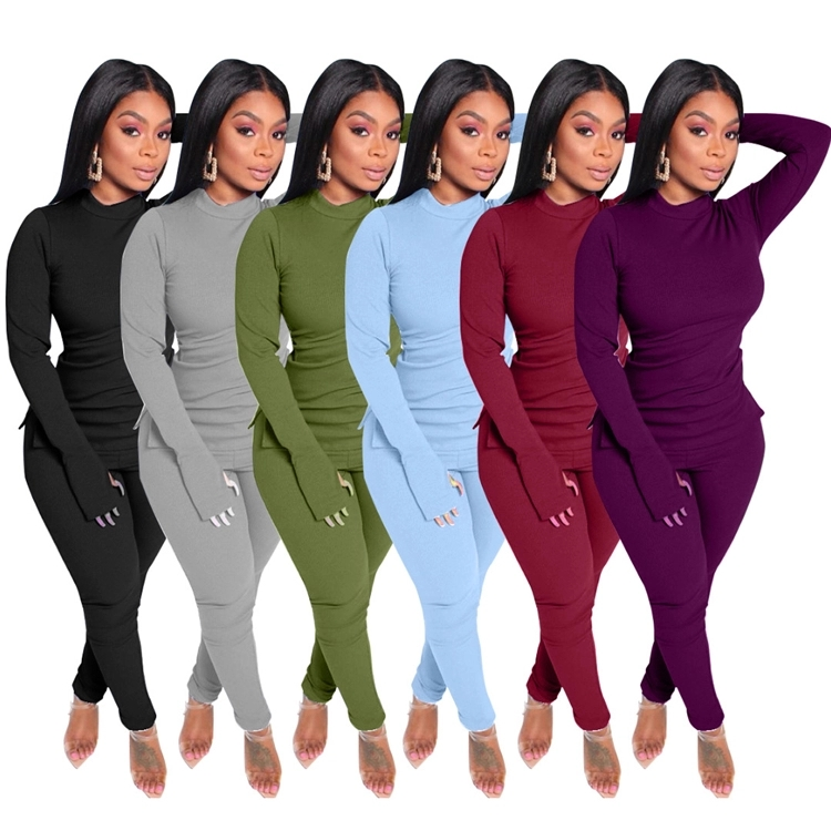 Hot sale Sexy Skinny Long Sleeve solid color Bodycon Clothing Pant Women Two Piece pants Outfits Set