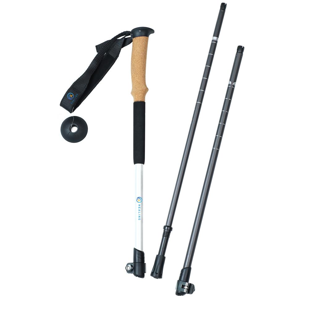 3 Sections 7075 Aluminum Adjustable Trekking Poles Factory Manufacture Outdoor Walking Stick with Soft Cork+EVA Handle