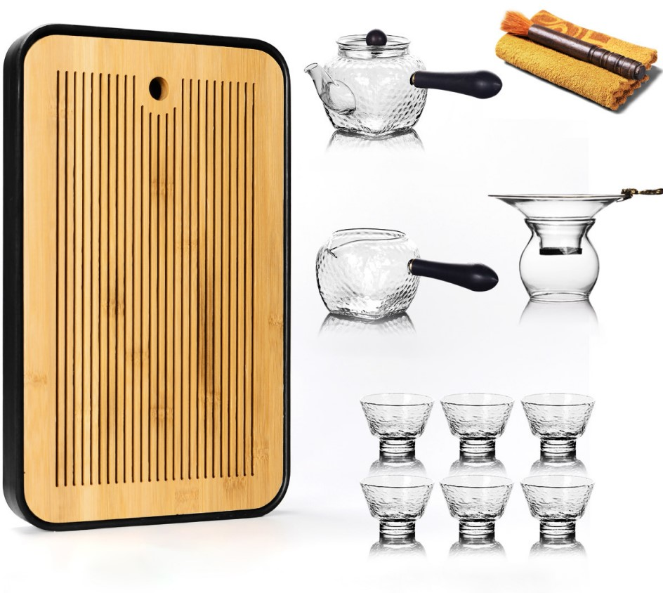 Cheap Portable Travel Heat Resistant Large Capacity Dinnerware Cup Glass Tea Set