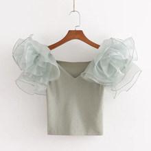 Женская зеленая укороченная блузка с v-образным вырезом, сетчатая Лоскутная Трикотажная блуза с коротким рукавом, женские блузки 2020, летний ...(Китай)