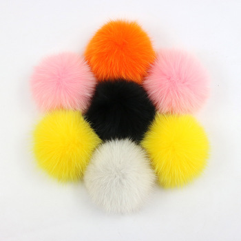 Fashion Accessories 12cm Fox Fur Pompoms Coral Red Fox Fur Dyed Colors