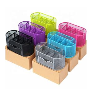 Metal Mesh Pen Holder 9 compartments pencil holder small pull-out drawer ready to delivery office school supplies desk organizer