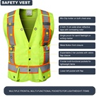 Vest Safety Vest Custom Logo With Pockets Construction Wholesale High Visibility Reflective Safety Vest