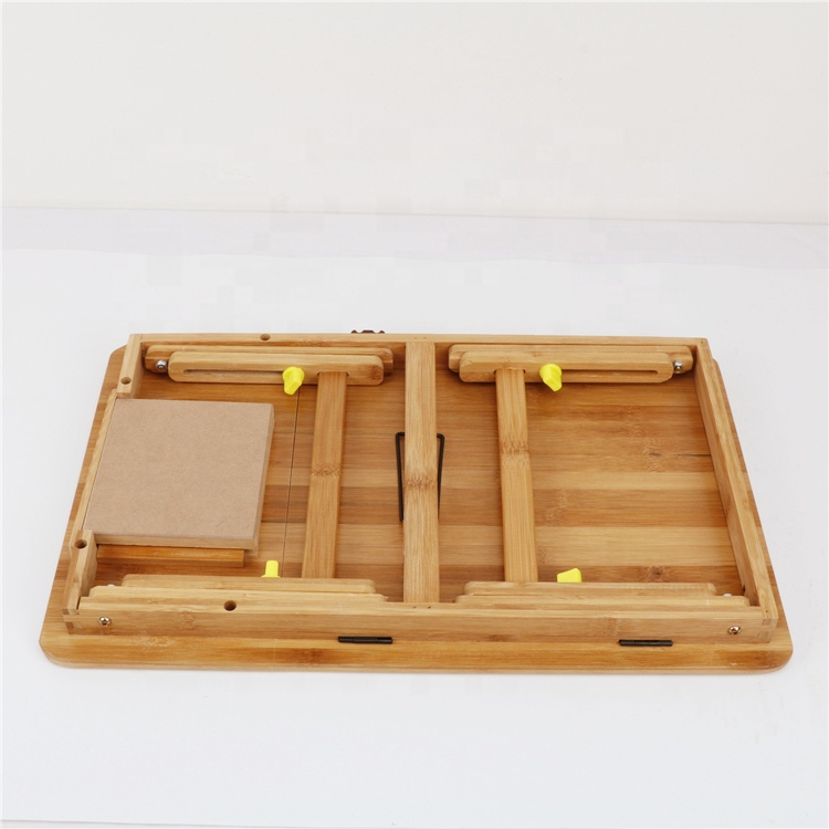 Factory eco friendly custom logo high quality bamboo laptop table with fan and drawer