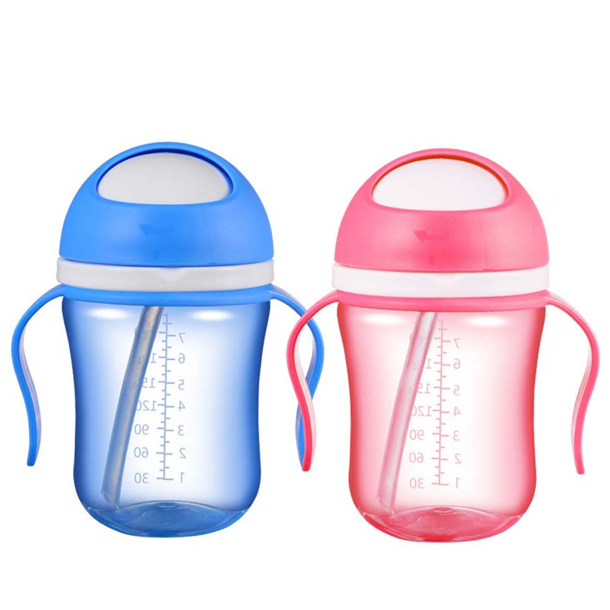 Factory Price 300ml Baby Feeding Water Bottle Silicone Straw Baby Drinking Cup For Kid Learning Drink