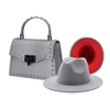 Silver hat and purse set