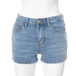 2021 summer new solid color buckle back strap elastic slim denim shorts women
