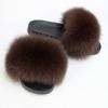 Brown lady fur slipper